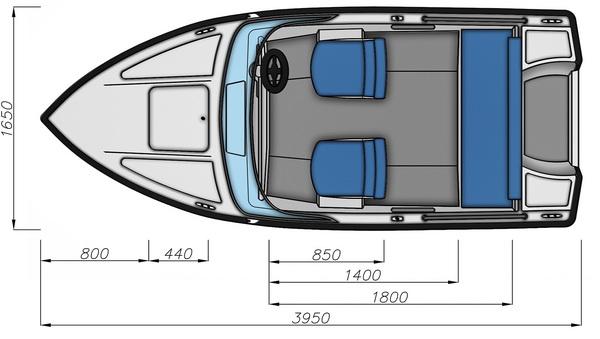Схема моторной лодки Бестер-400А с размерами