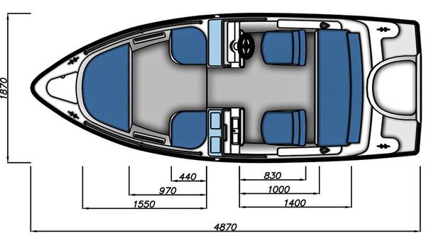 Схема моторной лодки Бестер-480РА с размерами