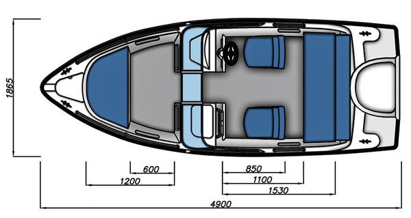 Схема моторной лодки Бестер-485А с размерами