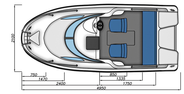 Схема моторной лодки Бестер-500А с размерами