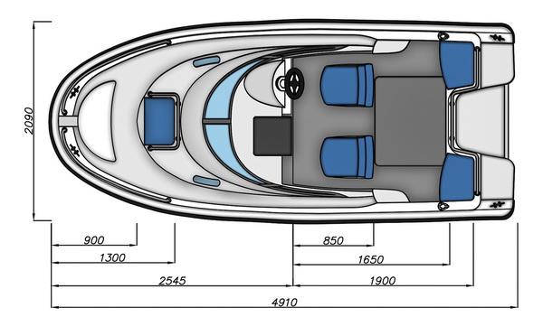Схема моторной лодки Бестер-500РА с размерами